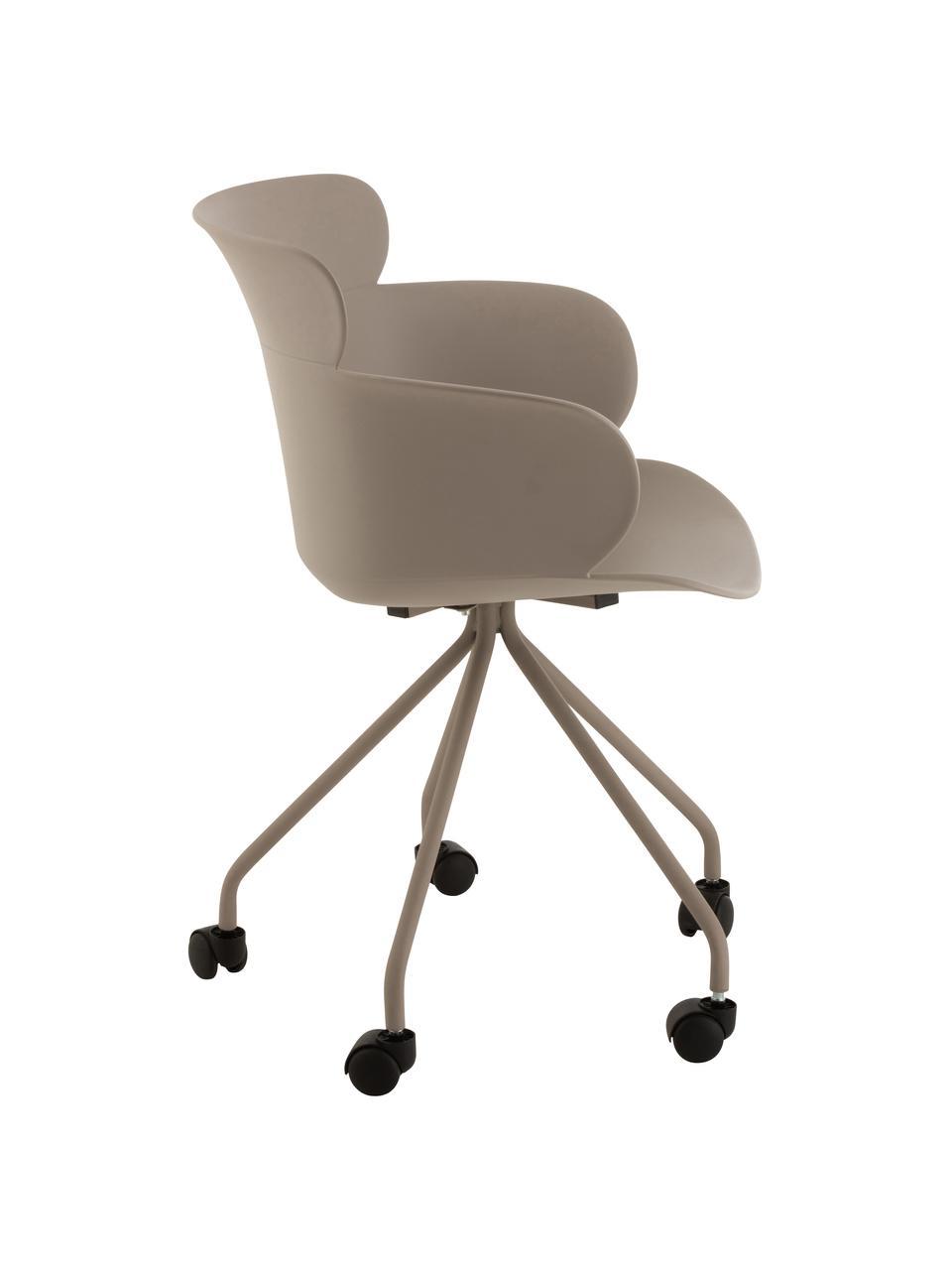 Kunststoff-Bürostuhl Eva mit Rollen, Kunststoff (PP), Greige, B 60 x T 54 cm