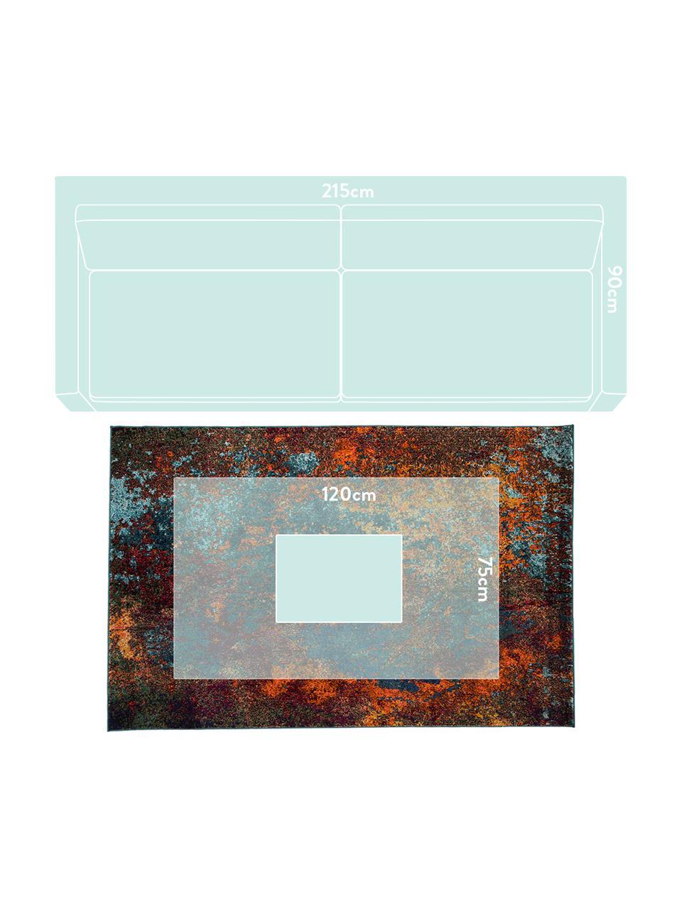 Tappeto di design colorato Celestial, Retro: juta, Tonalità rosse, tonalità blu, verde, Larg.160 x Lung. 220 cm  (taglia M)