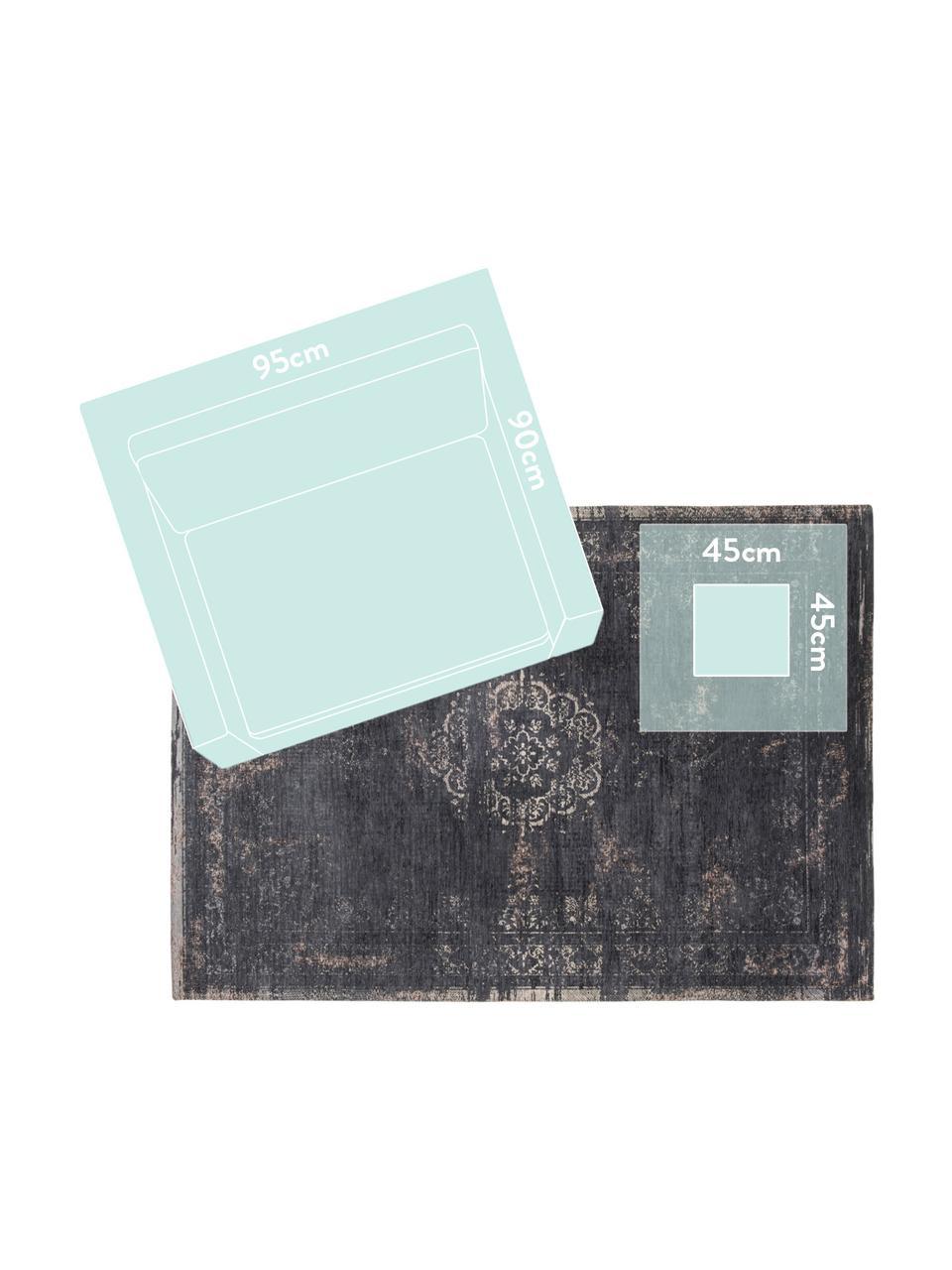 Vintage Chenilleteppich Medaillon, Vorderseite: 100% Chenillegarn (Baumwo, Webart: Jacquard, Rückseite: Chenillegarn, latexbeschi, Schwarz, Beige, B 80 x L 150 cm (Größe XS)