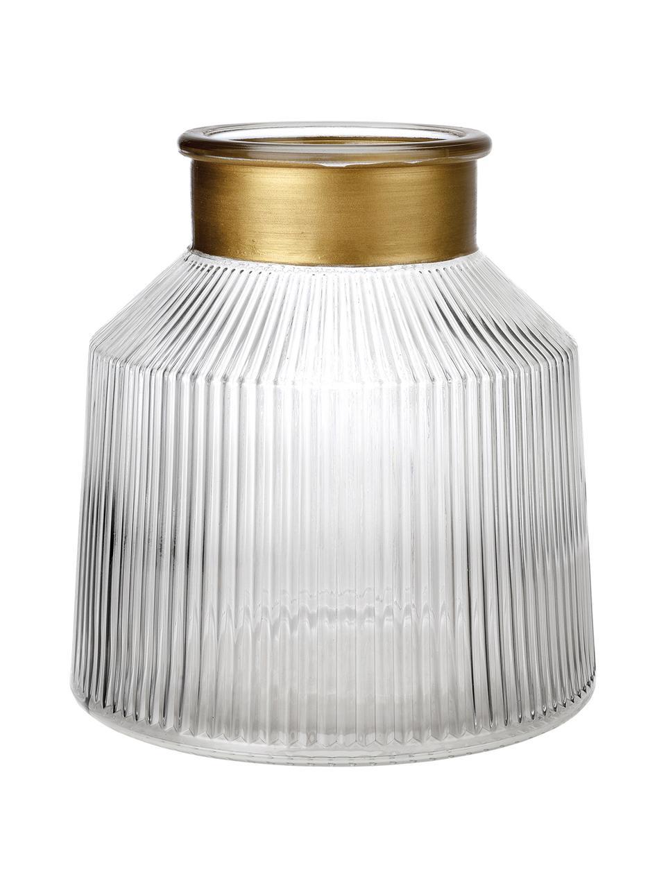 Vaso in vetro Junyell, Bordo: vetro verniciato, Vaso: vetro, Dorato trasparente, Ø 19 x Alt. 20 cm