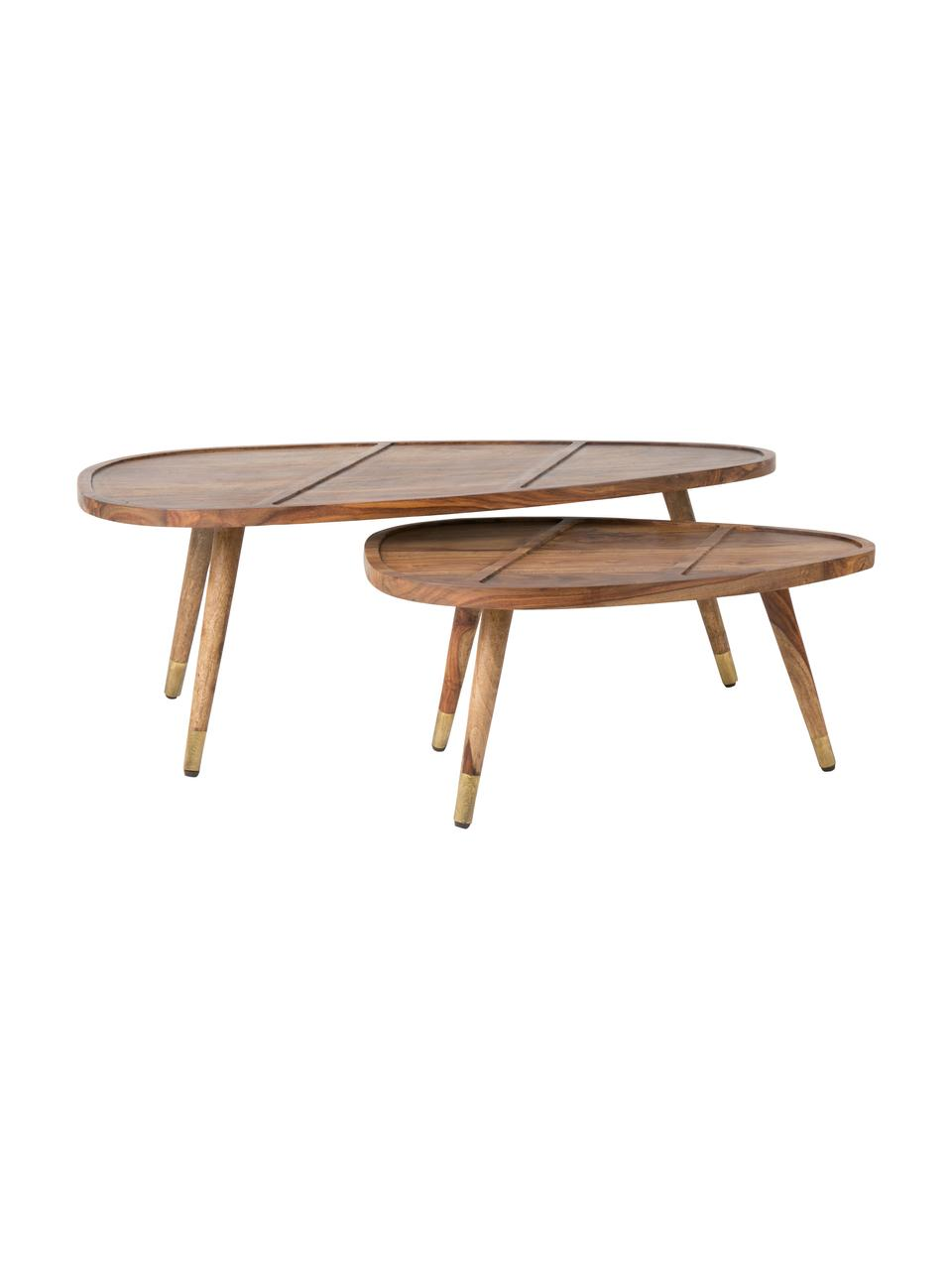 Couchtisch 2er-Set Sham aus Sheeshamholz, Tischplatte und Beine oben: Sheeshamholz<br>Beine unten: Goldfarben, 110 x 40 cm