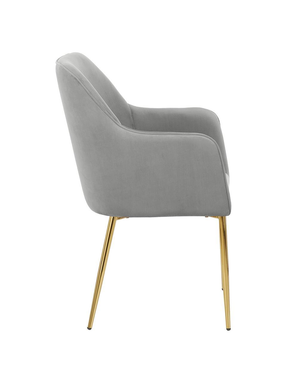 Sedia con braccioli  in velluto Ava, Rivestimento: velluto (poliestere) 50.0, Gambe: metallo zincato, Velluto grigio, gambe oro, Larg. 57 x Prof. 62 cm