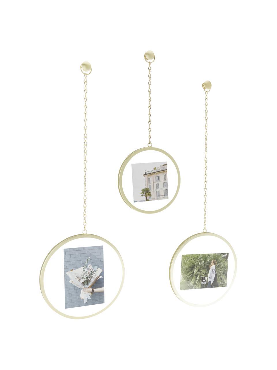 Komplet ramek na zdjęcia Dima, 3 elem., Metal powlekany, Odcienie złotego, Komplet z różnymi rozmiarami