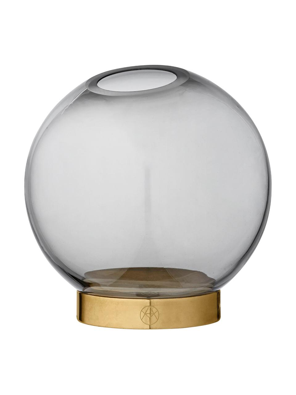 Kleine Glas-Vase Globe mit Metallsockel, Vase: Glas, Vase: Schwarz, transparent Fuß: Messing, Ø 10 x H 10 cm