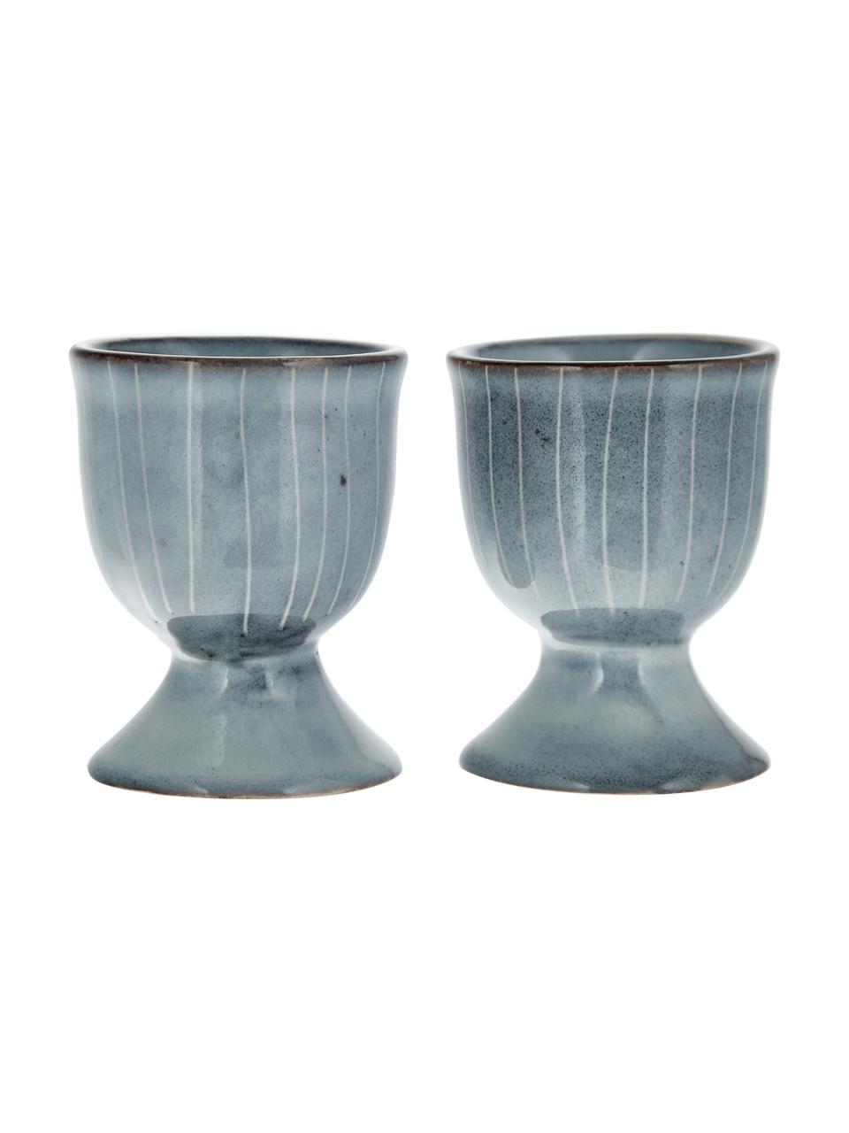 Portauova in terracotta fatto a mano Nordic Sea 2 pz, Terracotta, Grigio- e tonalità blu, Ø 5 x Alt. 6 cm