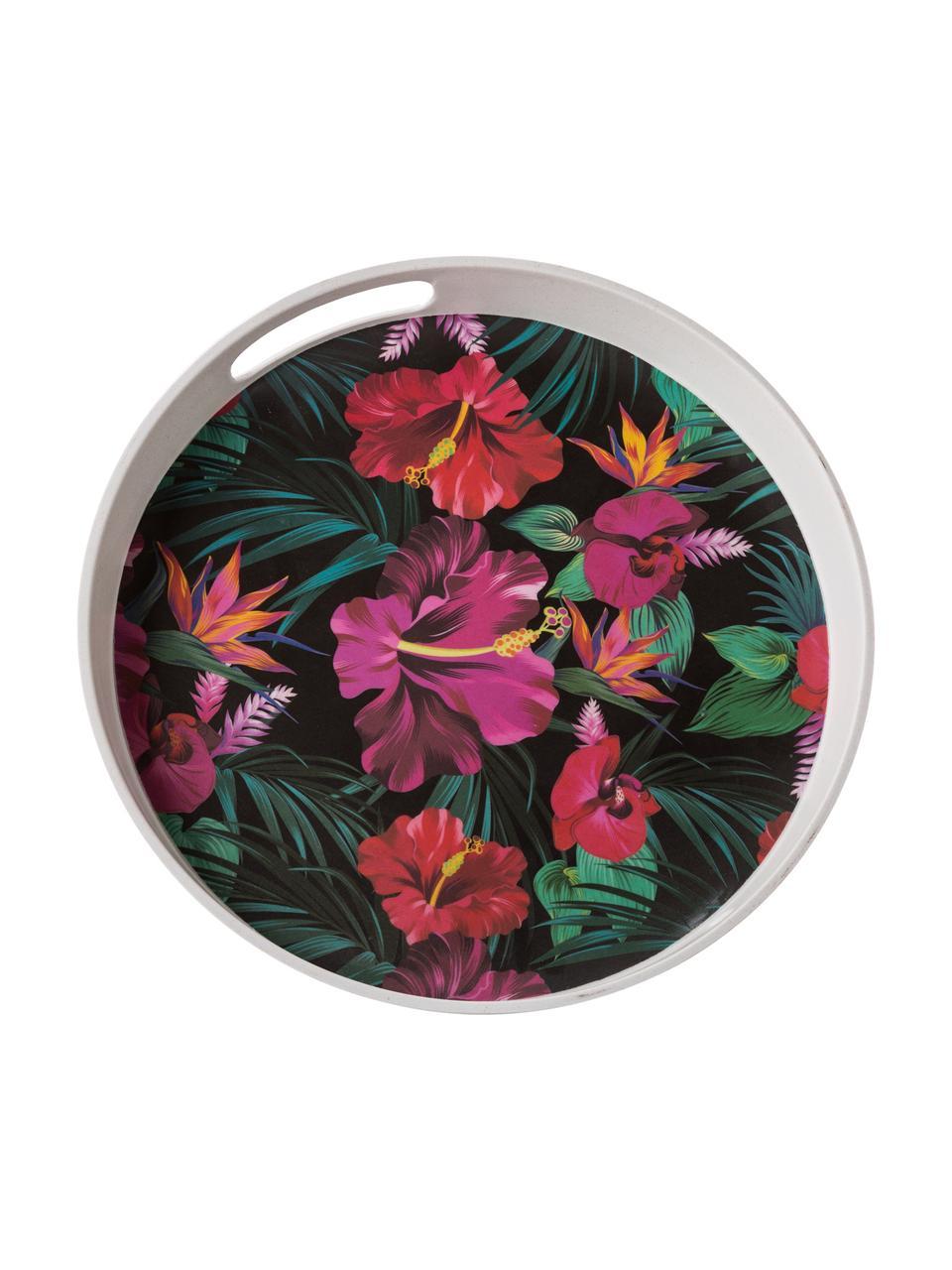 Plateau de service rond Tropical Flower, Ø 30cm, Tons verts, couleurs fuchsia, rouge, blanc