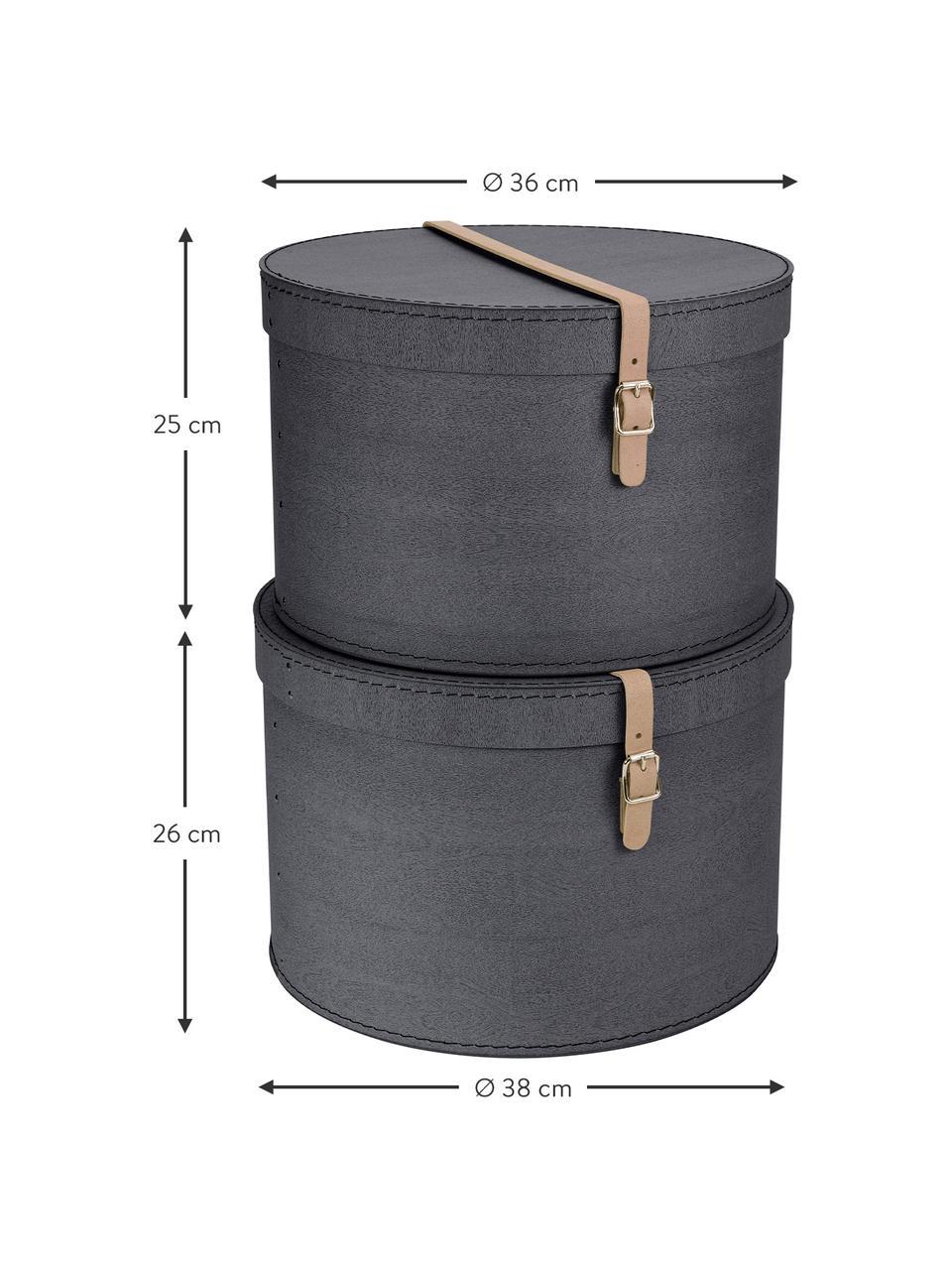 Set 2 scatole Rut, Scatola: cartone massiccio, stampa, Manico: pelle, metallo, La scatola all'esterno: nera<br>Scatola interna: nera<br>Maniglia: beige, Set in varie misure