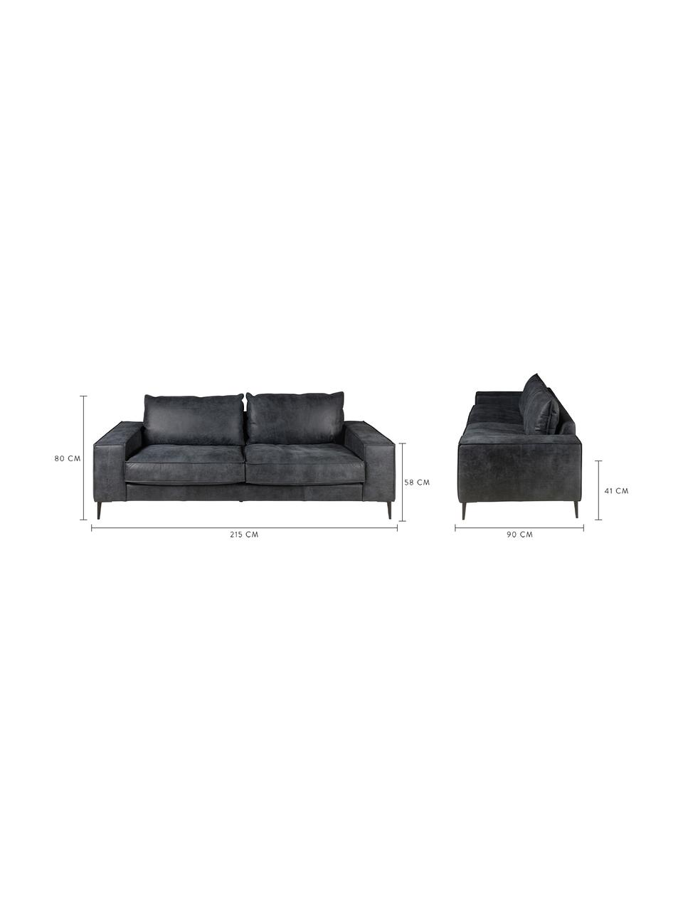 Leren bank Brett (3-zits) in zwart-grijs in industrieel design, Bekleding: glad runderleer, Frame: gelakt aluminium, Leer zwart-grijs, B 215 x D 90 cm