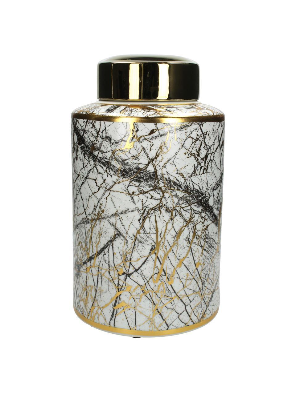 Aufbewahrungsdose Marble, Porzellan, Schwarz, Weiß, Goldfarben, Ø 18 x H 30 cm