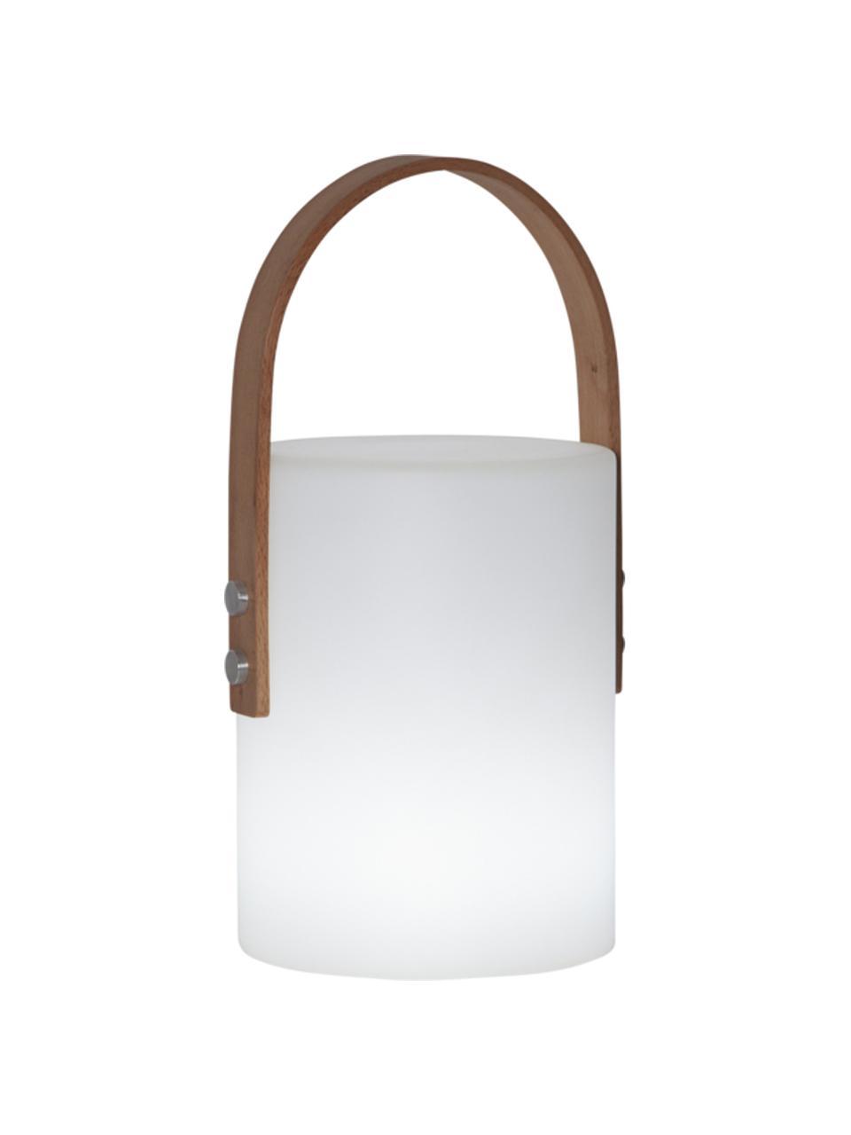 Přenosná stmívatelná venkovní stolní lampa Lucie, Bílá, dřevo
