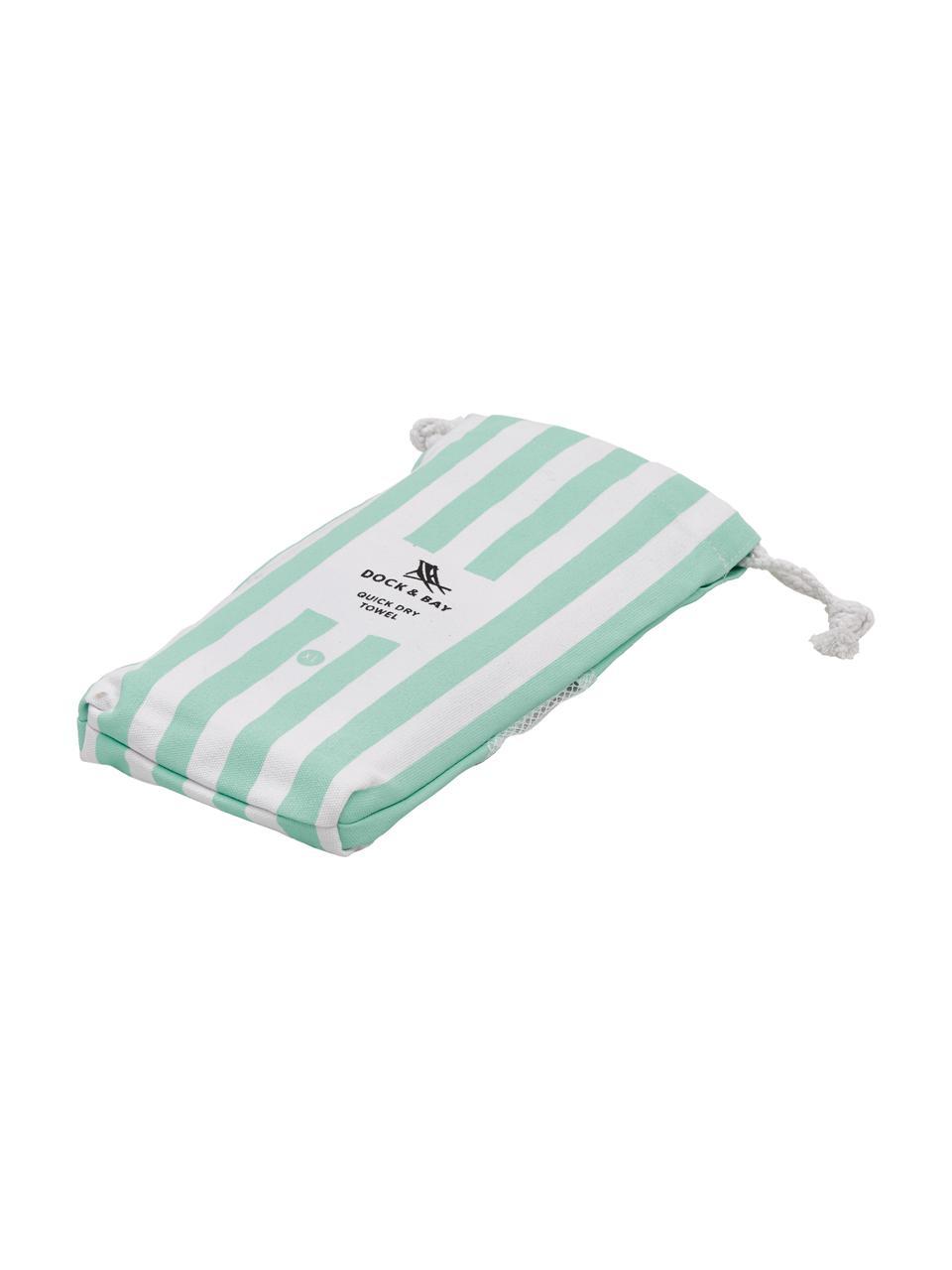 Szybkoschnący ręcznik plażowy z mikrofibry Cabana, Mikrofibra (80% poliester, 20% poliamid), Zielony miętowy, biały, S 90 x D 200 cm