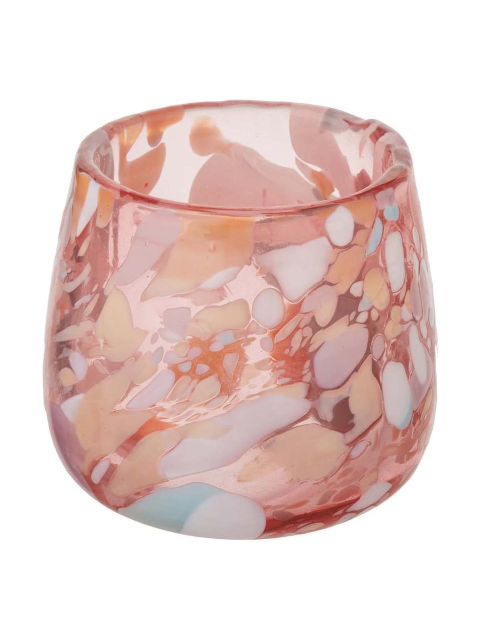 Portalumini in vetro soffiato Art, 2 pz, Vetro soffiato a bocca, Rosa, blu, verde, salmone, crema, Ø 10 x Alt. 9 cm