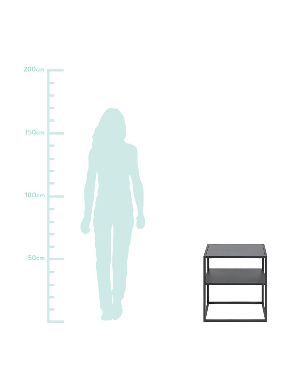 Stolik pomocniczy z metalu Newton, Metal malowany proszkowo, Czarny, S 45 x G 40 cm