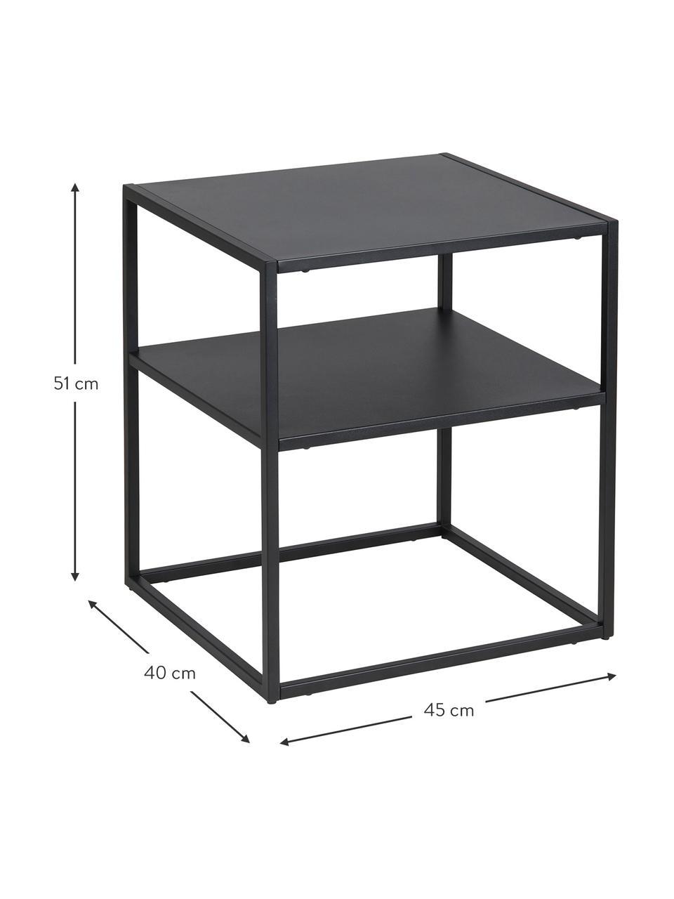 Metall-Beistelltisch Newton in Schwarz, Metall, pulverbeschichtet, Schwarz, B 45 x T 40 cm