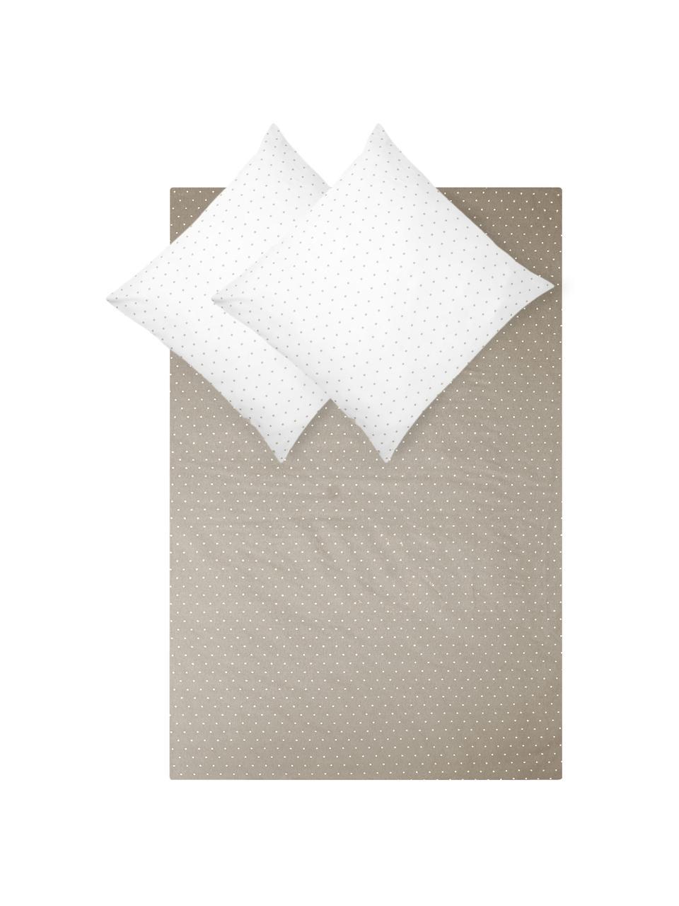 Flanell-Wendebettwäsche Betty, gepunktet, Webart: Flanell Flanell ist ein k, Beige, Weiß, 135 x 200 cm + 1 Kissen 80 x 80 cm