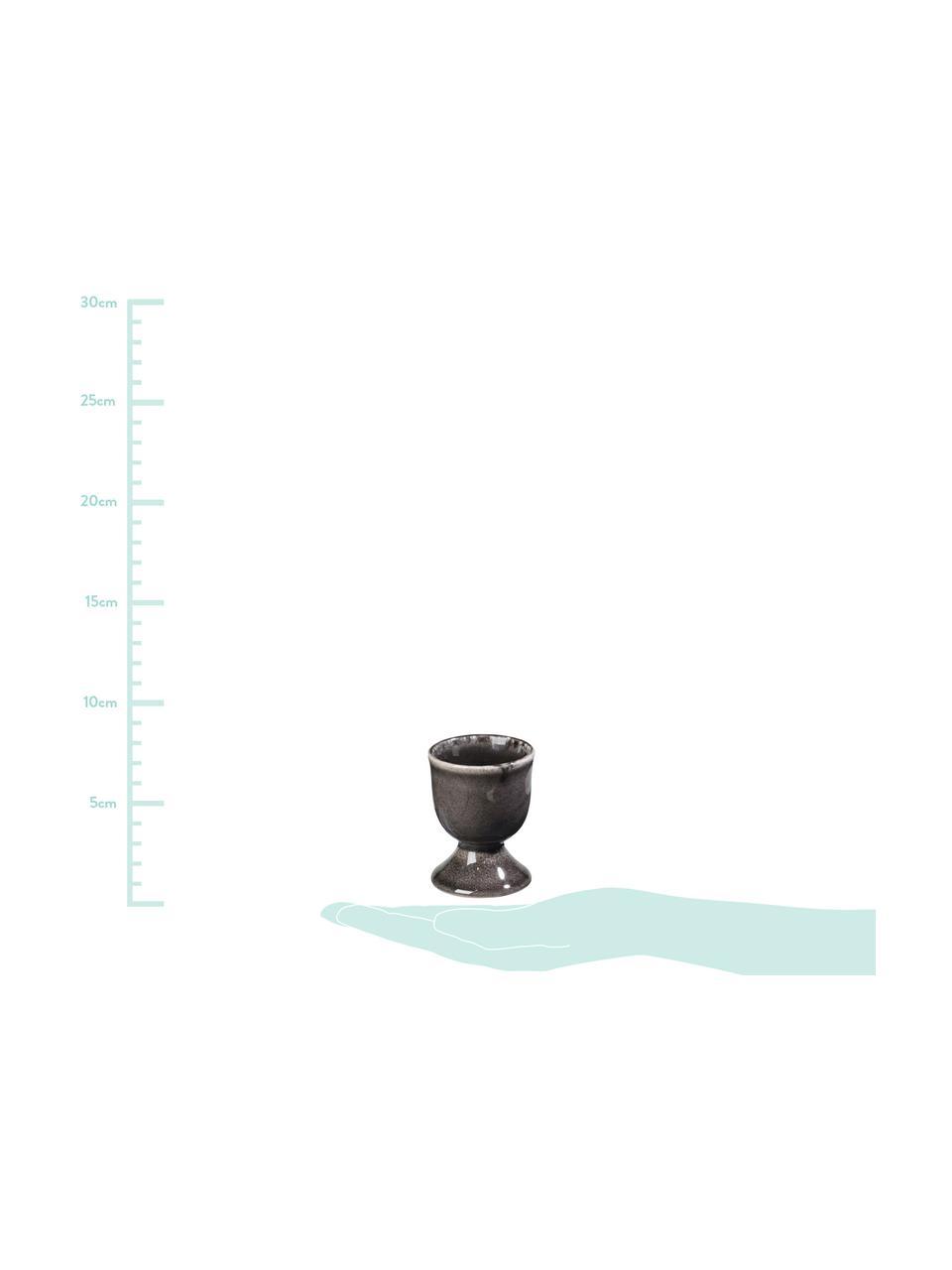 Handgemachte Eierbecher Nordic Coal aus Steingut, 4 Stück, Steingut, Bräunlich, Ø 5 x H 6 cm