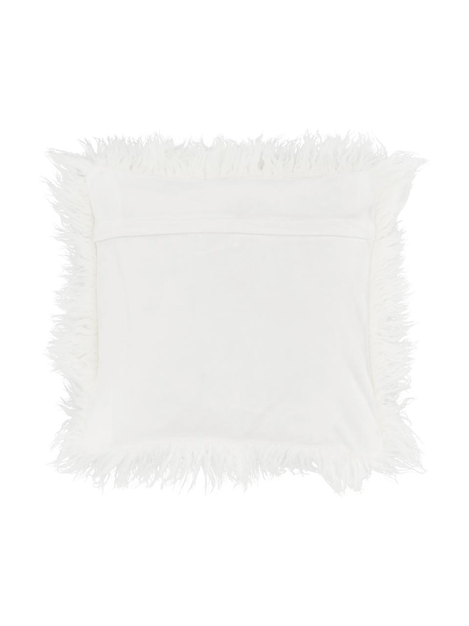 Federa arredo in ecopelliccia soffice Morten, Retro: 100% poliestere, Crema, Larg. 40 x Lung. 40 cm