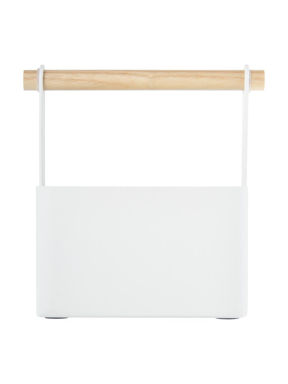 Cestino Tosca, Scatola: acciaio verniciato, Manico: legno, Bianco, marrone, Larg. 16 x Alt. 16 cm