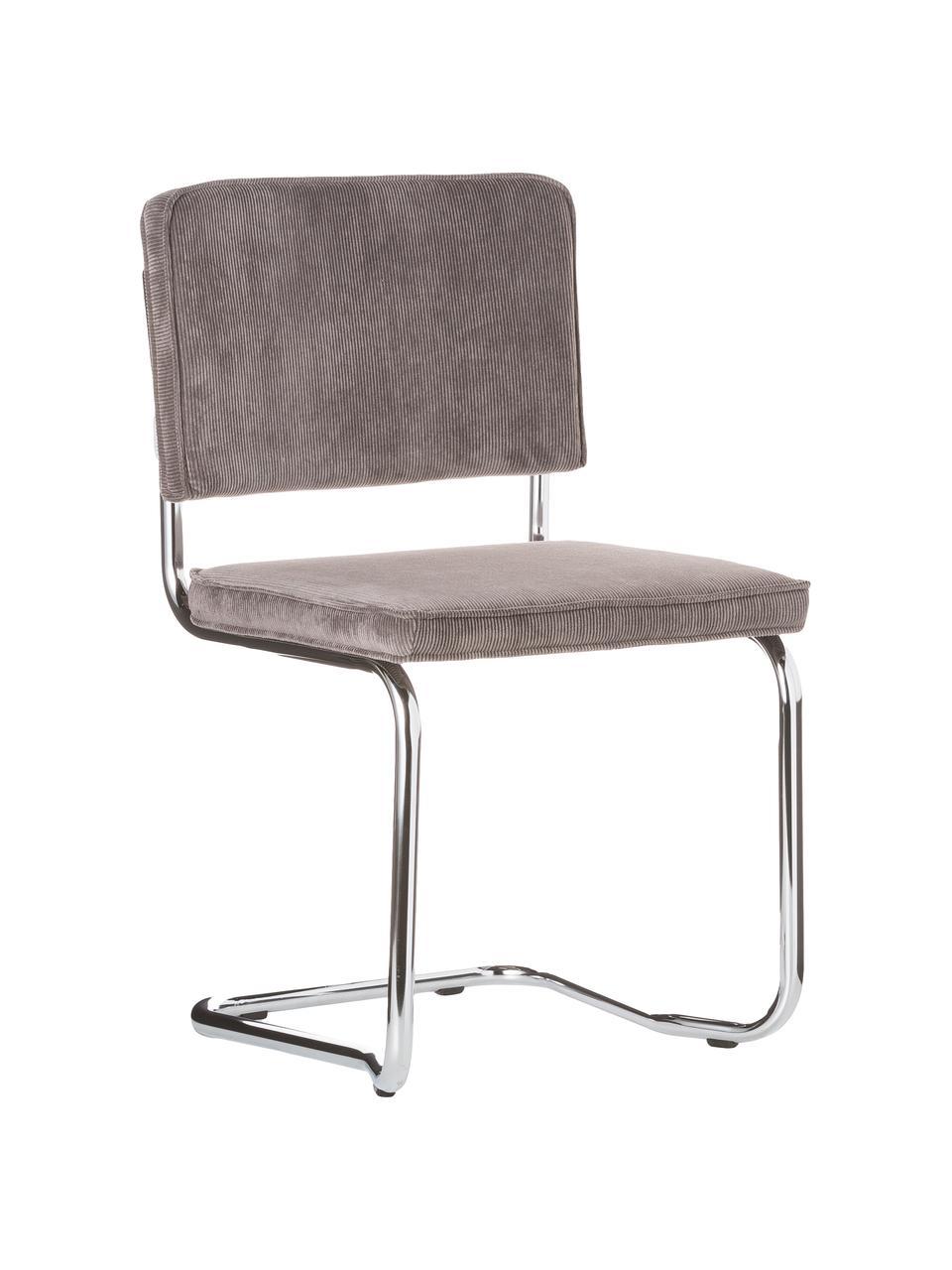 Chaise cantilever velours côtelé gris Kink, Gris