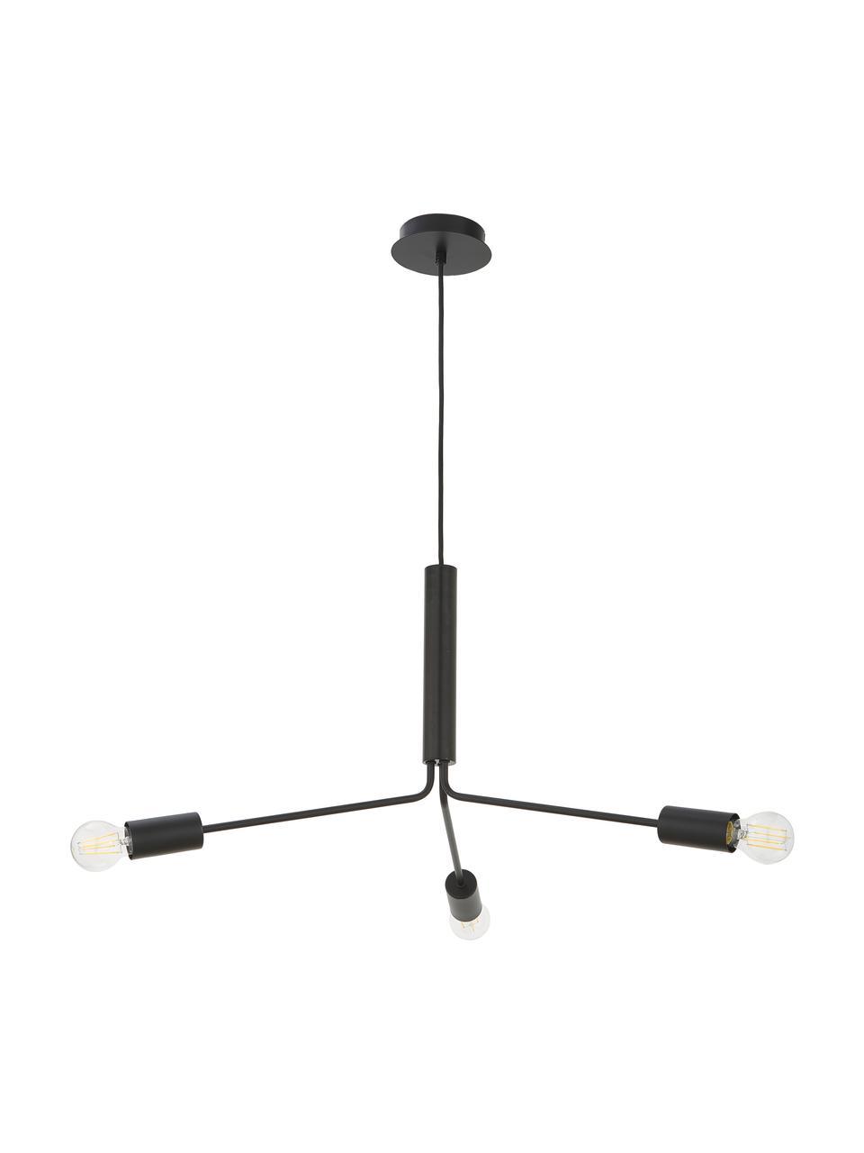 Hanglamp Grand Metro, Gelakt metaal, Mat zwart, H 39  x Ø 78 cm