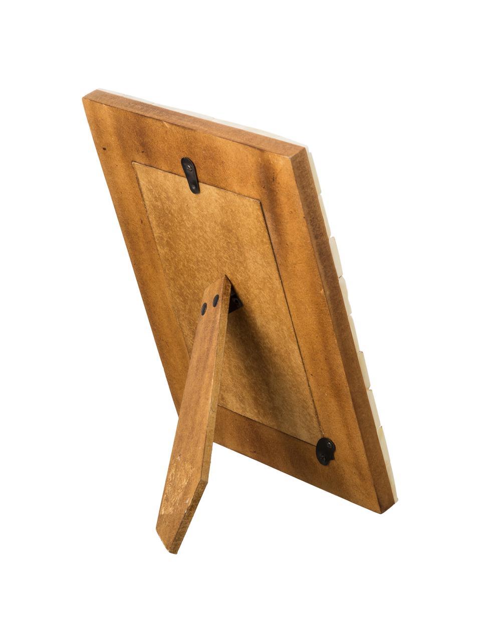 Cornice da tavolo color avorio Balou, Cornice: osso di bufalo, Retro: Pannelli di fibra a media, Avorio, 10 x 10 cm