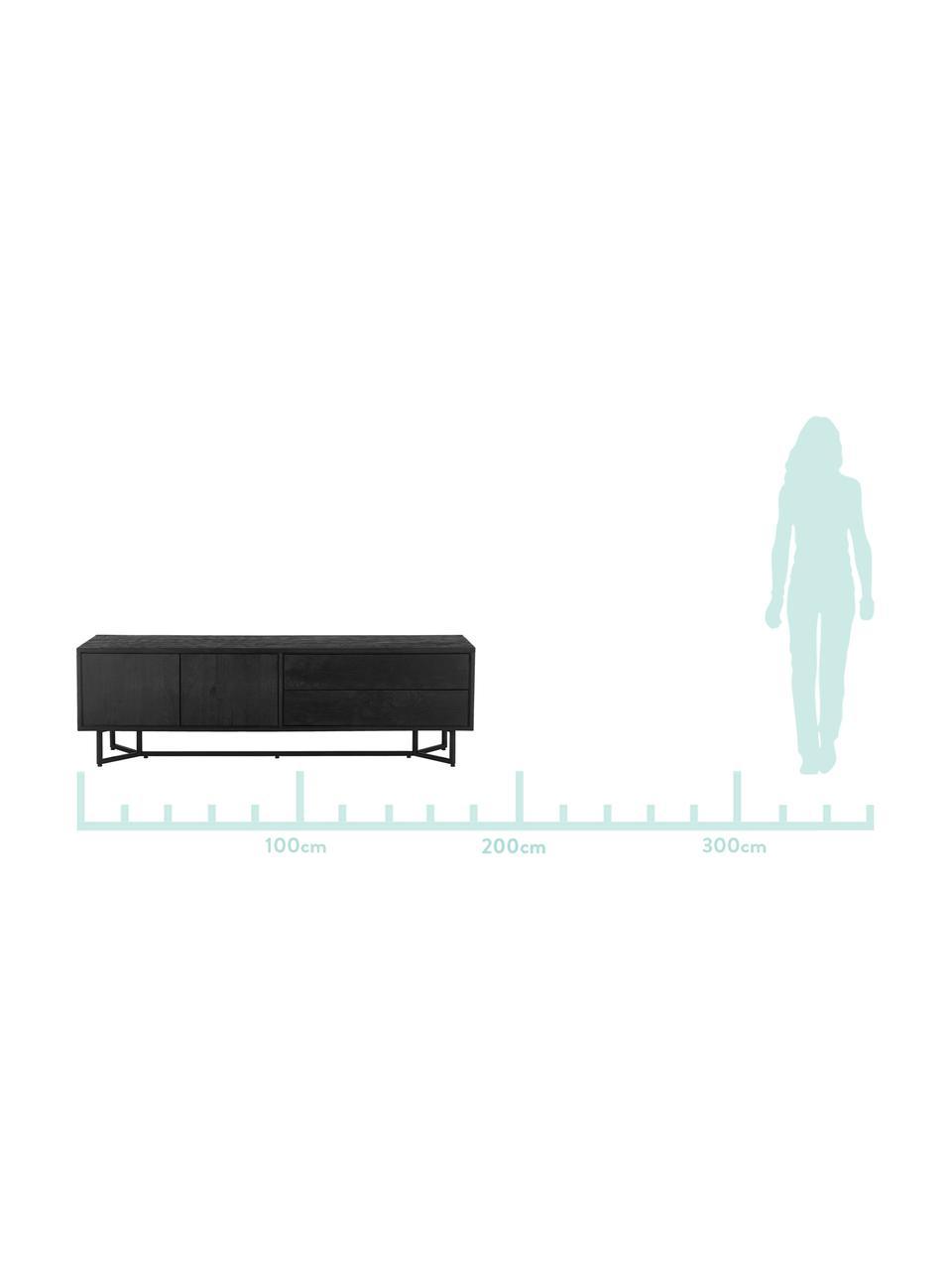Schwarzes Lowboard Luca aus massivem Mangoholz, Korpus: Massives Mangoholz, gebür, Gestell: Metall, pulverbeschichtet, Korpus: Schwarz, lackiertGestell: Schwarz, matt, 180 x 54 cm