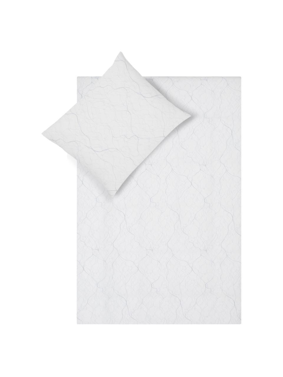 Katoensatijnen dekbedovertrek Delta, Gebroken wit, lichtgrijs, 140 x 220 cm