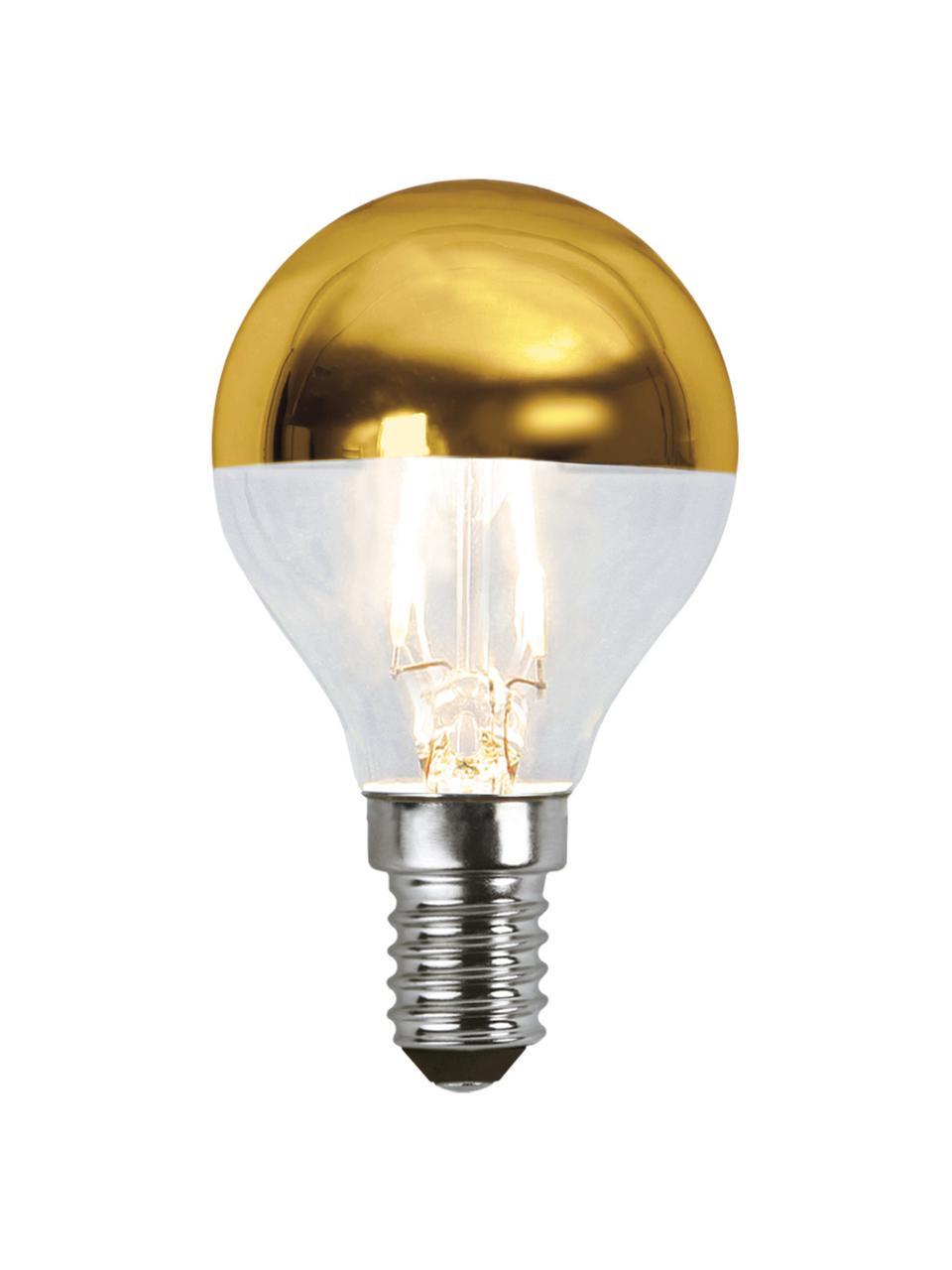 E14 peertje, 1.5 watt, warmwit, 1 stuk, Peertje: glas, Fitting: aluminium, Goudkleurig, transparant, Ø 5 x H 8 cm