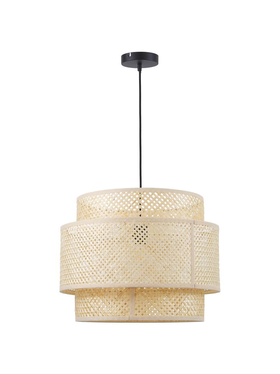 Lampada a sospensione in bambù fatta a mano Finja, Paralume: bambù, Baldacchino: metallo verniciato a polv, Beige, Ø 50 x Alt. 40 cm