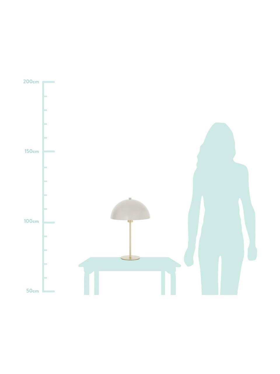Lampa stołowa z metalu Matilda, Jasny szary, odcienie mosiądzu, Ø 29 x W 45 cm