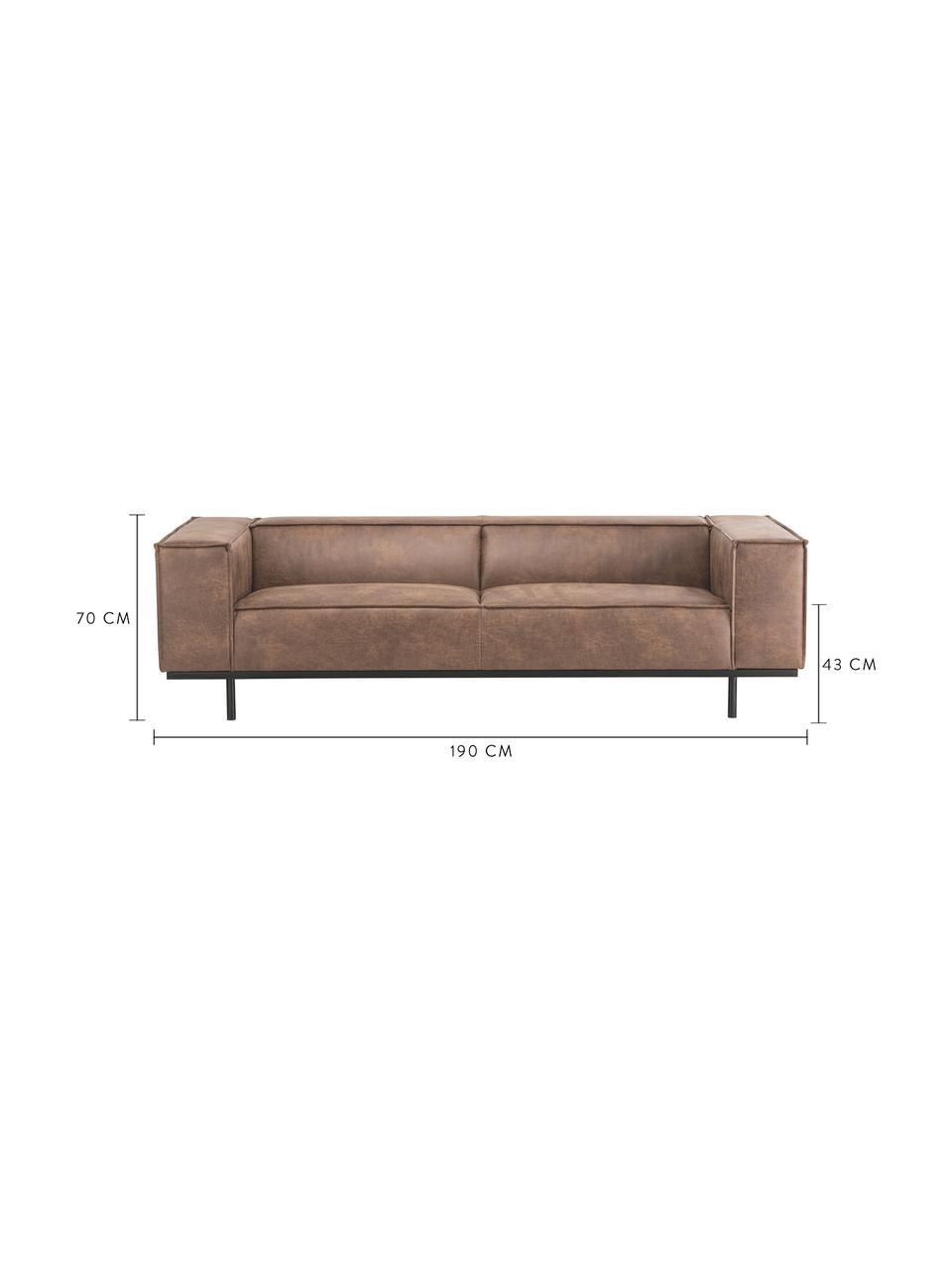 Sofa ze skóry z metalowymi nogami Abigail (2-osobowa), Tapicerka: skóra naturalna (70% skór, Nogi: stal lakierowana, Brązowy, S 190 x G 95 cm