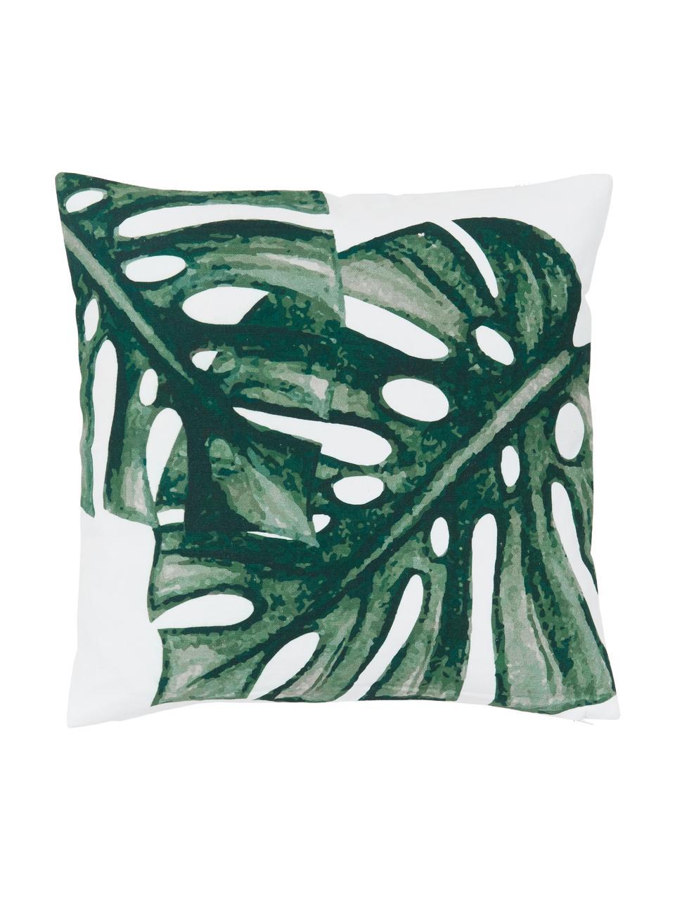 Kussenhoes Tropics met monstera print in groen/wit, 100% katoen, Groen, wit, 40 x 40 cm