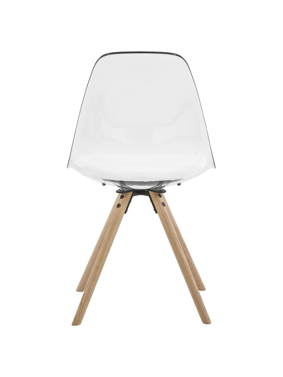 Chaises en plastique Henning, 2 pièces, Blanc, transparent, bois de chêne