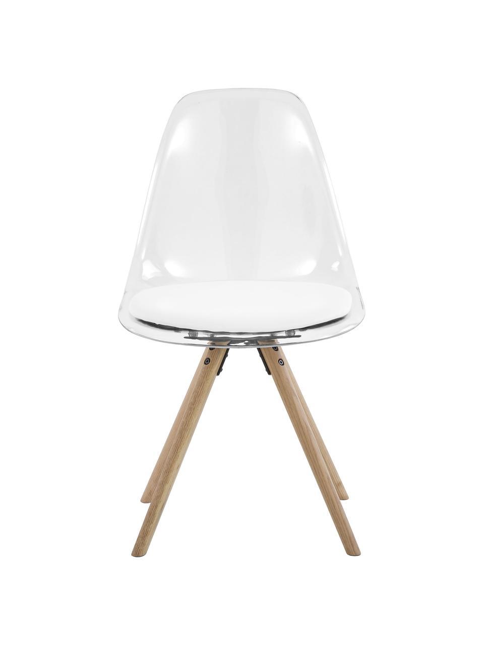 Krzesło z tworzywa sztucznego Henning, 2 szt., Tapicerka: sztuczna skóra, Nogi: drewno dębowe, olejowane, Biały, transparentny, drewno dębowe, S 47 x G 53 cm