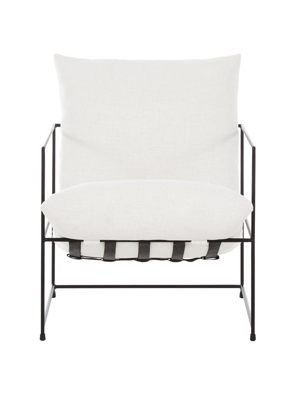 Fauteuil lounge avec structure en métal Wayne, Tissu blanc