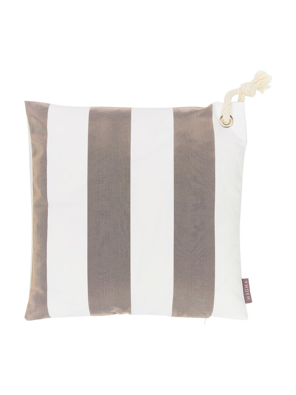 Gestreifte Outdoor-Kissenhülle Santorin in Taupe/Weiß, 100% Polypropylen, Taupe, gebrochenes Weiß, 40 x 40 cm