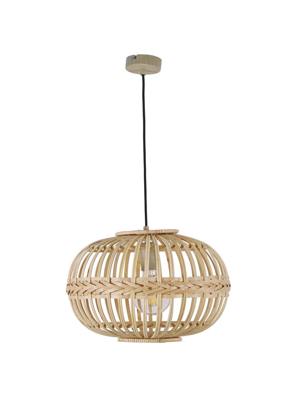Lampada a sospensione in bambù Adam, Baldacchino: metallo verniciato a polv, Beige, Ø 38 x Alt. 27 cm