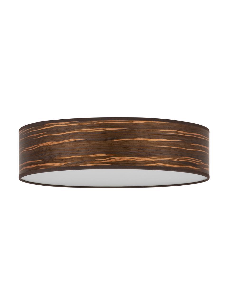 Deckenleuchte Ocho aus Holz, Lampenschirm: Holz, Holz, Weiß, Ø 40 x H 11 cm