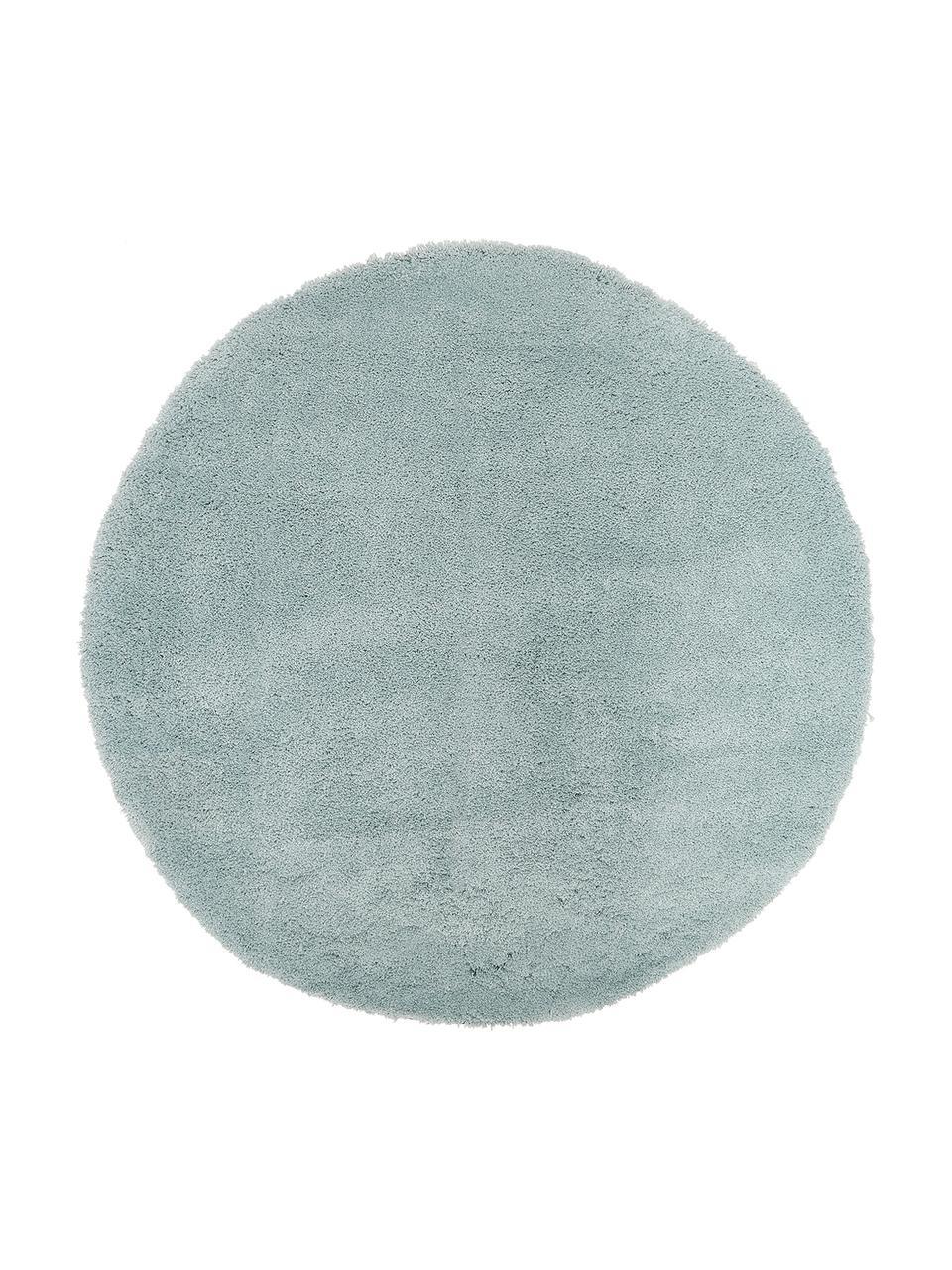 Tappeto peloso rotondo verde menta Leighton, Retro: 70% poliestere, 30% coton, Verde menta, Ø 200 cm (taglia L)