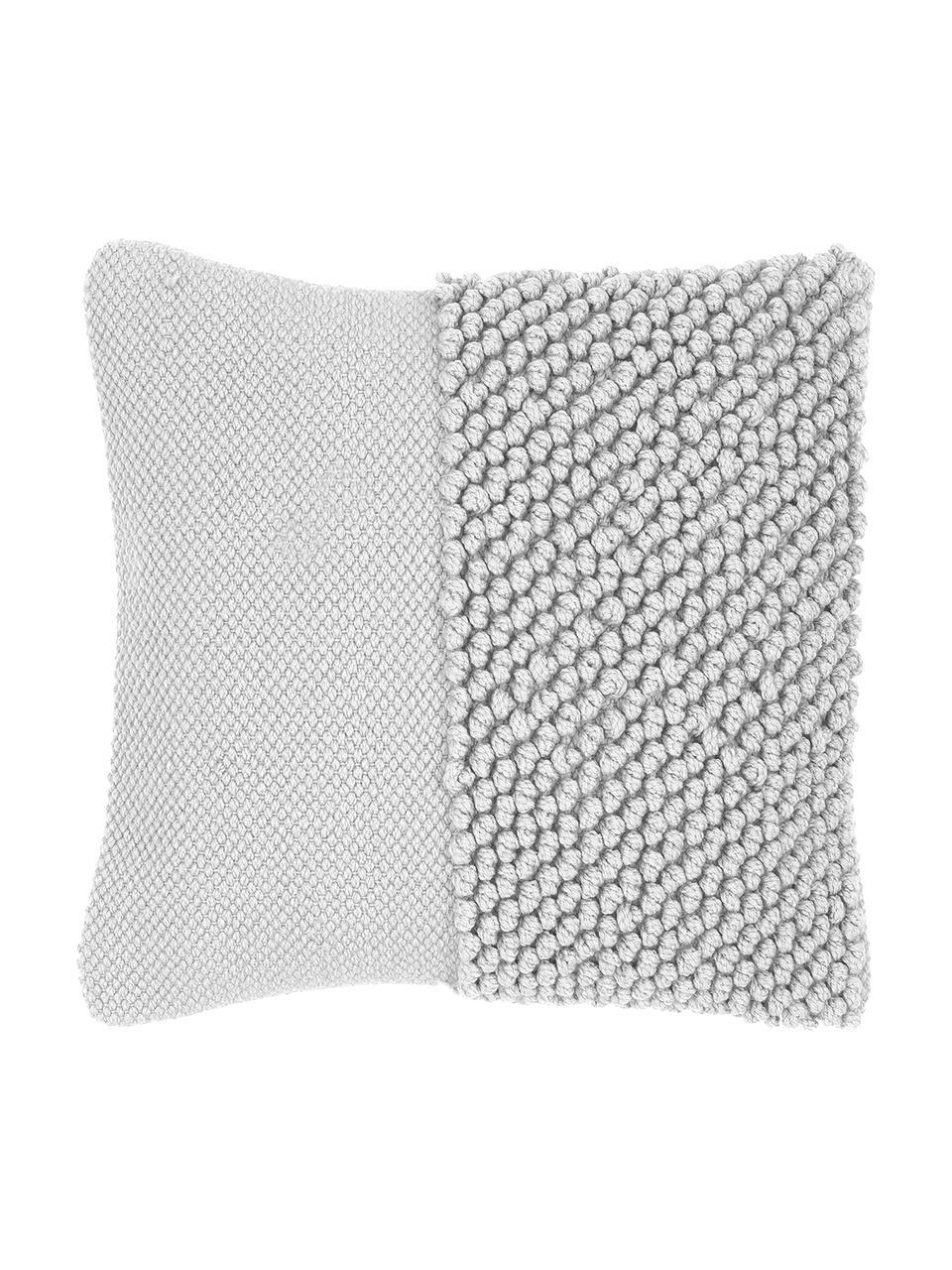 Kussenhoes Andi met gestructureerde oppervlak, 90% acryl, 10% katoen, Lichtgrijs, 40 x 40 cm