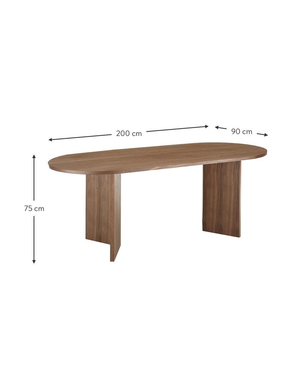 Table ovale plaqué noyer Joni, Placage de noyer
