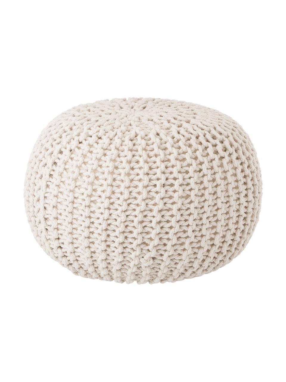 Handgefertigter Strickpouf Dori, Bezug: 100% Baumwolle, Creme, Ø 55 x H 35 cm