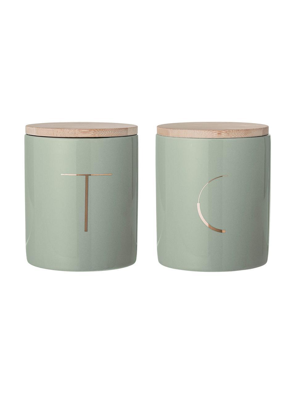 Set scatole verde menta Aileen 2 pz, Contenitore: terracotta, Coperchio: bambù, silicone, Verde menta, legno di bambù, Ø 10 x Alt. 13 cm