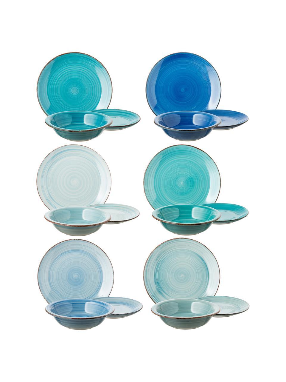 Set 18 piatti dipinti a mano in tonalità blu per 6 persone Baita, Terracotta (Hard Dolomite), dipinto a mano, Tonalità blu, menta, turchesi, Set in varie misure