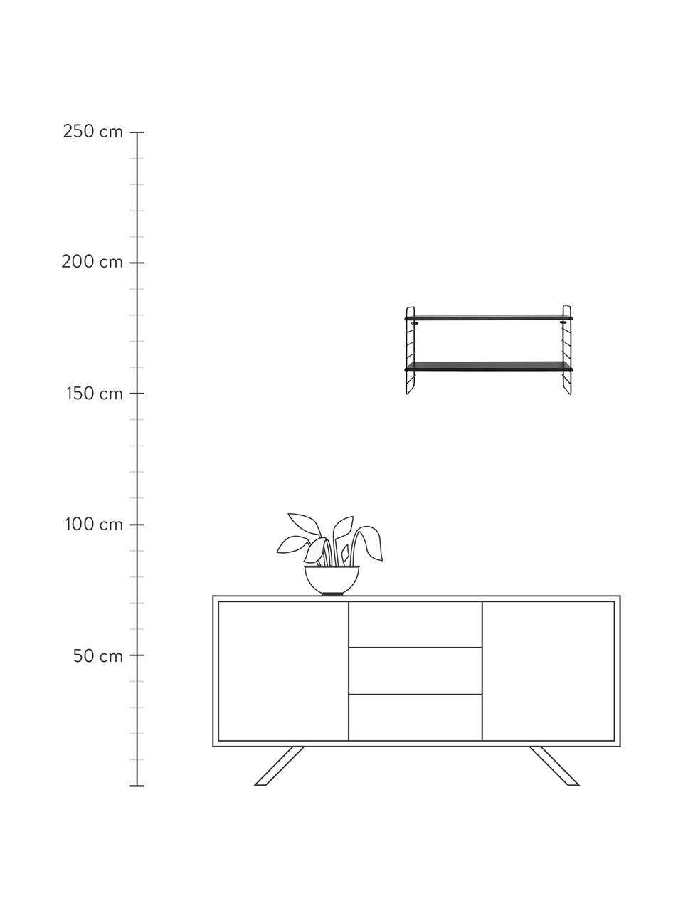 Kleines Wandregal North mit Metallgestell, Gestell: Metall, lackiert, Einlegeböden: Mitteldichte Faserplatte , Schwarz, 65 x 35 cm
