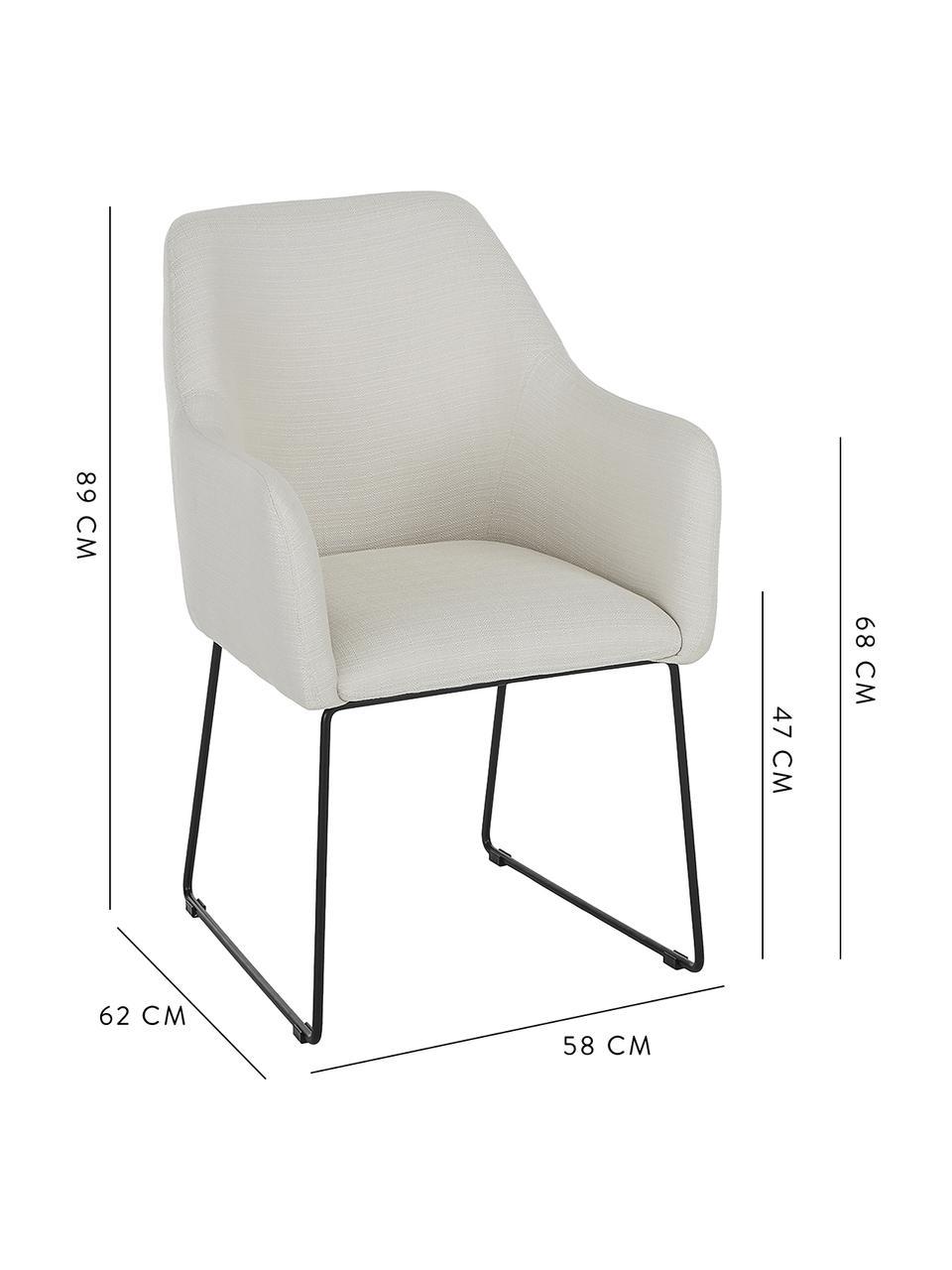 Chaise rembourrée moderne Isla, Tissu blanc crème, pieds noirs