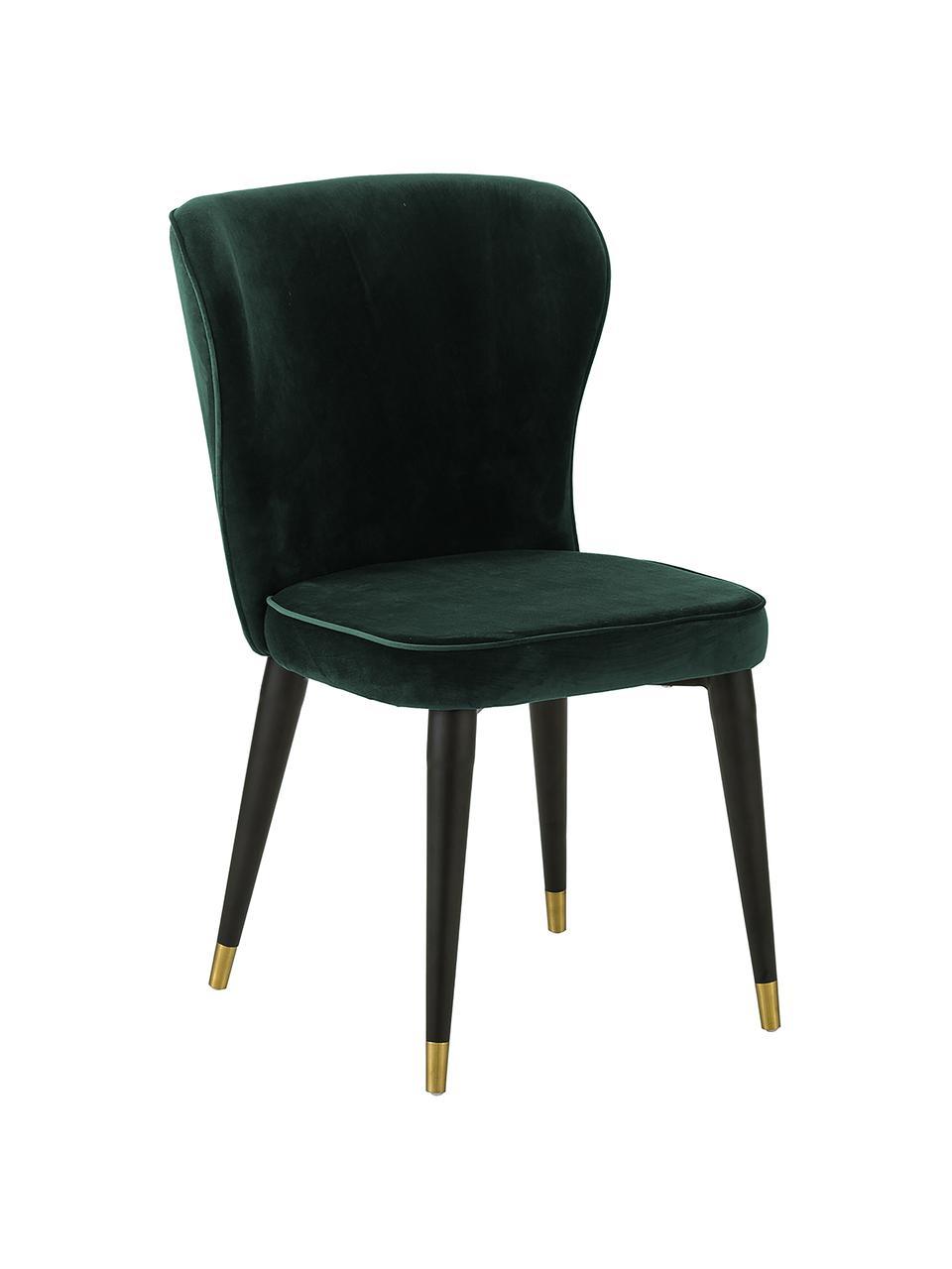 Chaise classique velours rembourré Cleo, Velours vert foncé