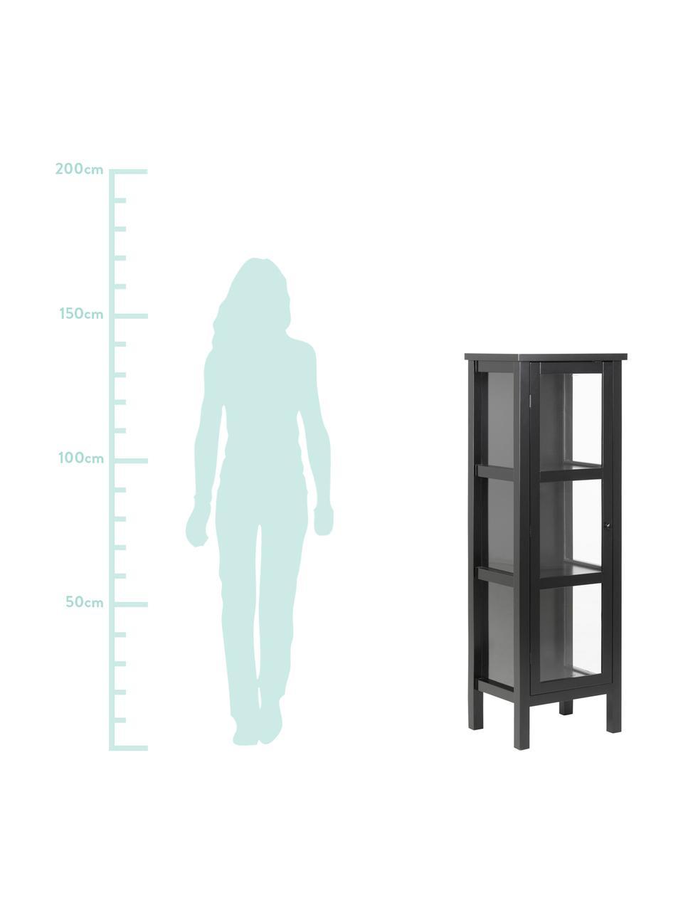 Glasvitrine Eton mit Holzrahmen, Gestell: Mitteldichte Holzfaserpla, Schwarz, 36 x 137 cm