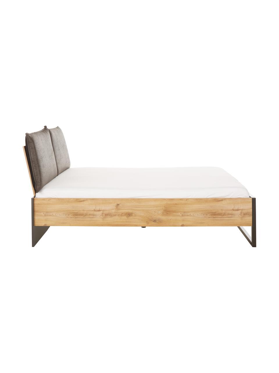 Holzbett Detroit mit Kunstleder-Kopfteil, Rahmen: Mitteldichte Holzfaserpla, Füße: Metall, pulverbeschichtet, Grau, 160 x 200 cm