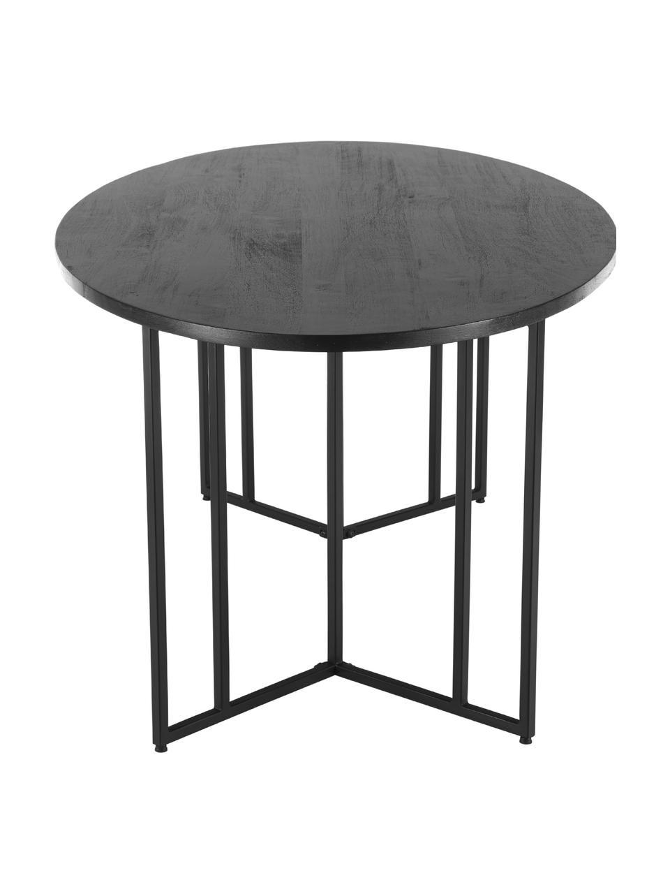 Ovale massief houten eettafel Luca in zwart, Tafelblad: geborsteld en gelakt mass, Frame: gepoedercoat metaal, Tafelblad: zwart gelakt mangohout. Frame: mat zwart, B 180 x D 100 cm